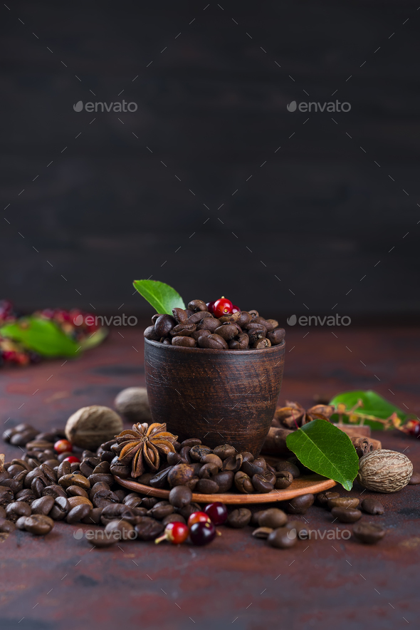 Coffee bean on black stone background - Stock Photo - Images