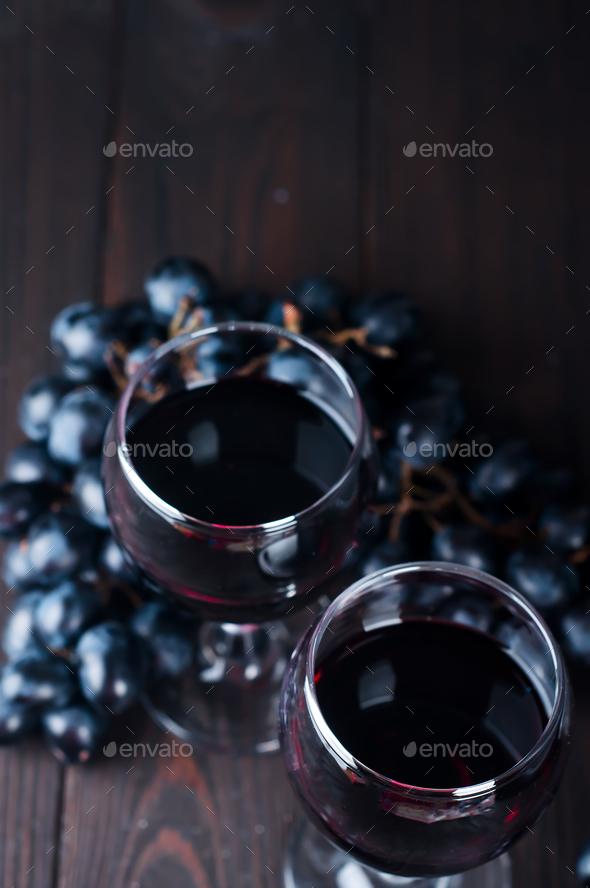 Red wine in glasses with grape - Stock Photo - Images