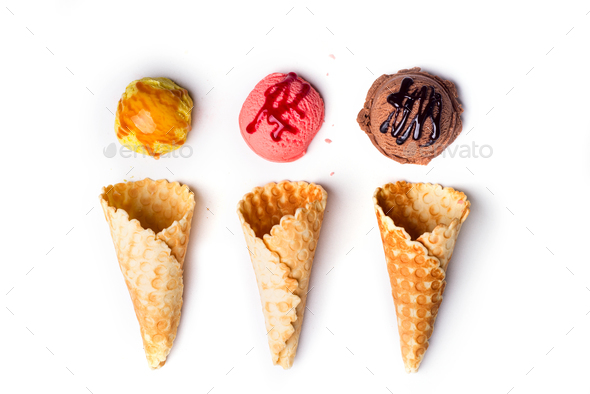 waffle cones with ice cream - Stock Photo - Images