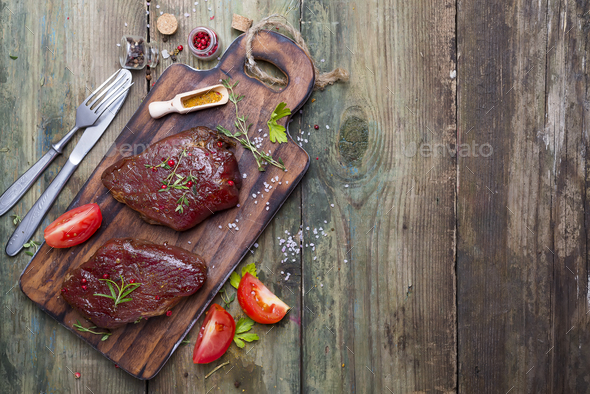 Raw uncooked beef steak meat - Stock Photo - Images