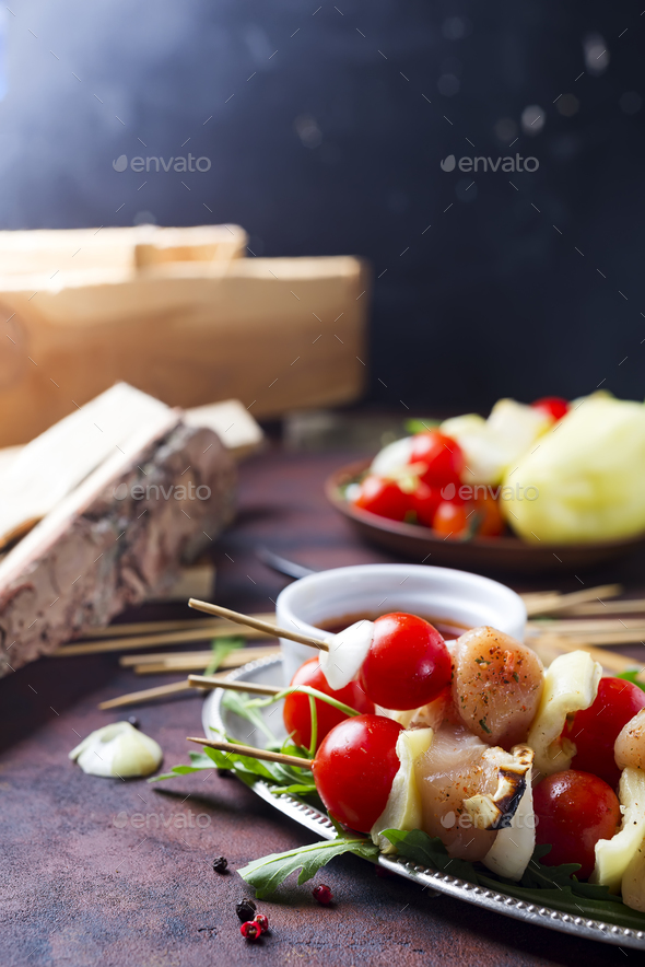 Making kebab from chicken - Stock Photo - Images