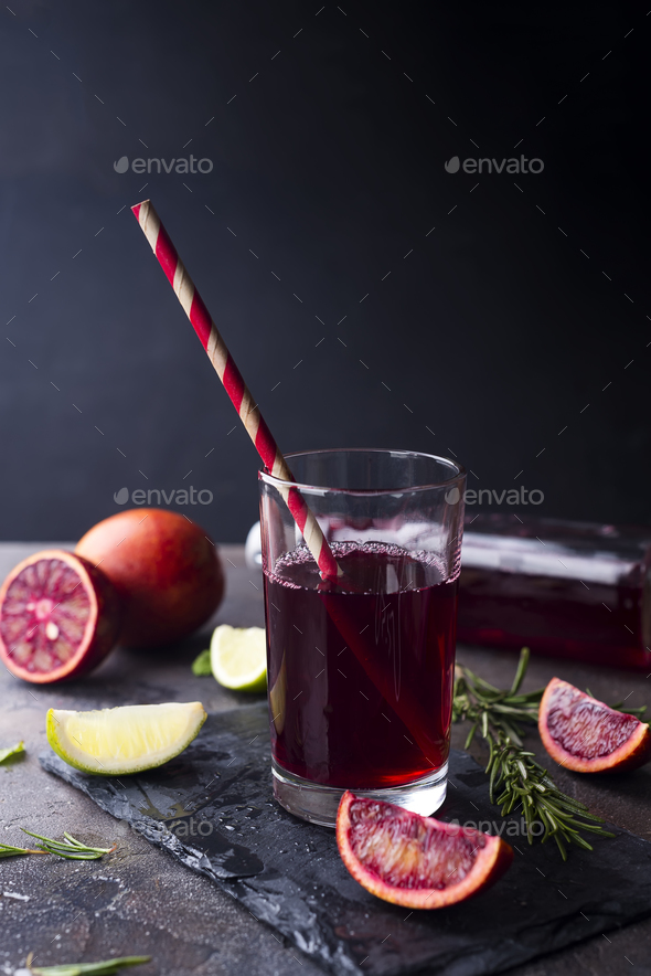 Red cocktail from Sicilian oranges - Stock Photo - Images