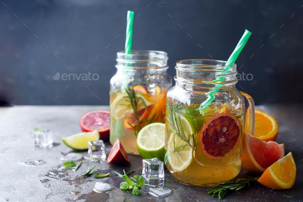 orange lemonade on a jar - Stock Photo - Images
