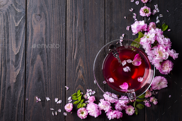 Floral frame with tea cup - Stock Photo - Images