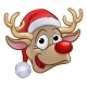 Christmas Reindeer in Santa Hat
