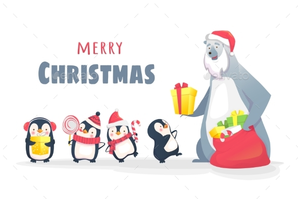 Polar Bear Gives Gifts to Penguins - Christmas Seasons/Holidays