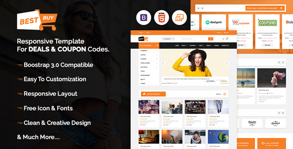 Bestbuy - Bootstrap Responsive template for deals & coupon codes