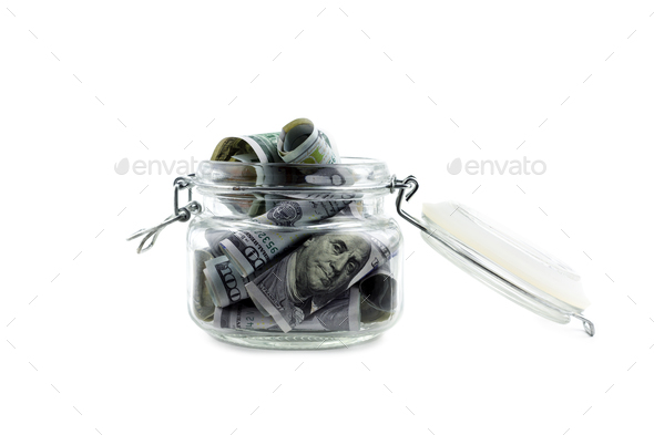 American dollars cash in glass jar isolated - Stock Photo - Images