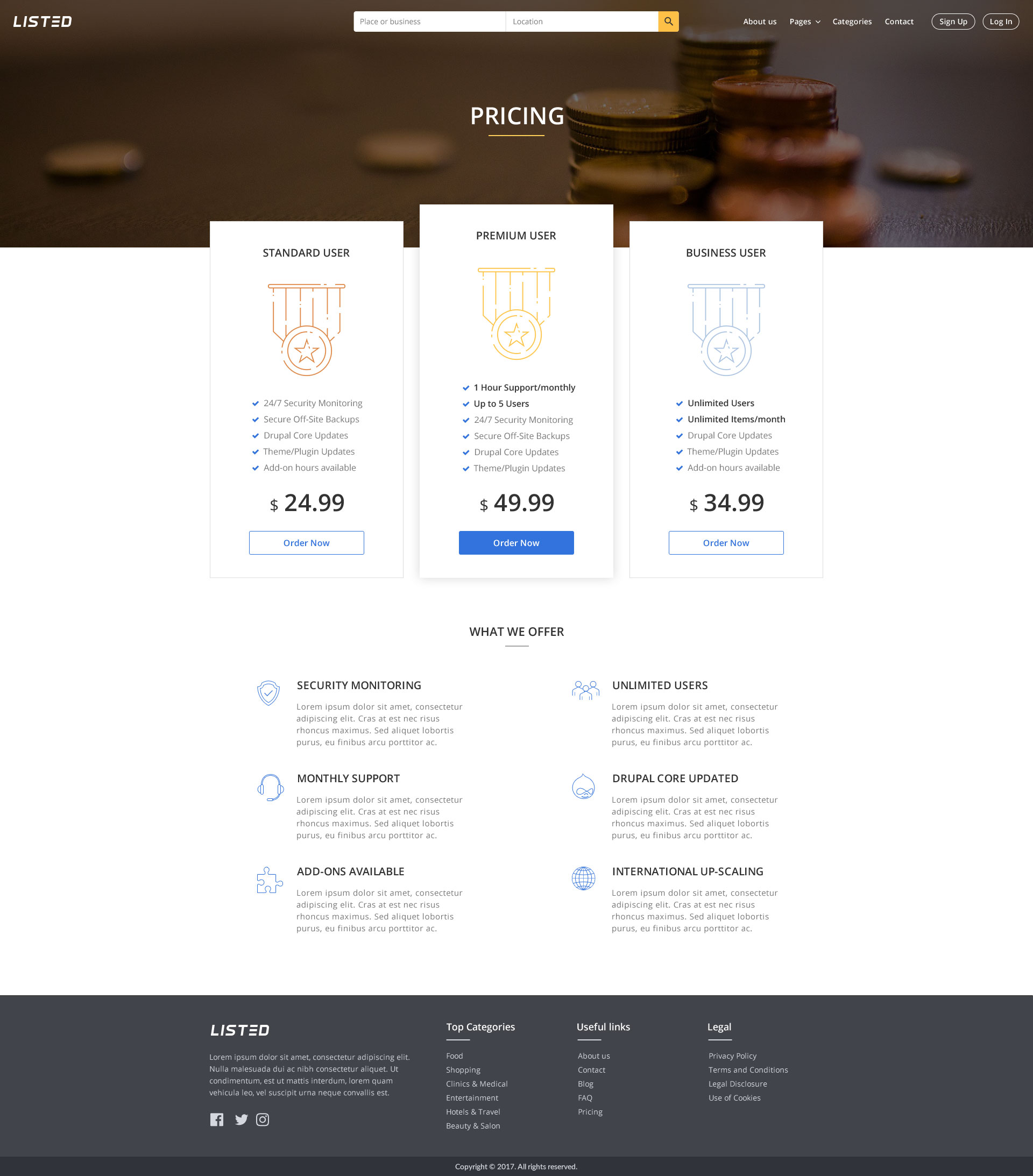 Listed - List Directory PSD Template
