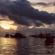 Seascape Fishing Boat on Koh Tao Beach Warm Light Sunset Time, Many Clouds Moving - VideoHive Item for Sale