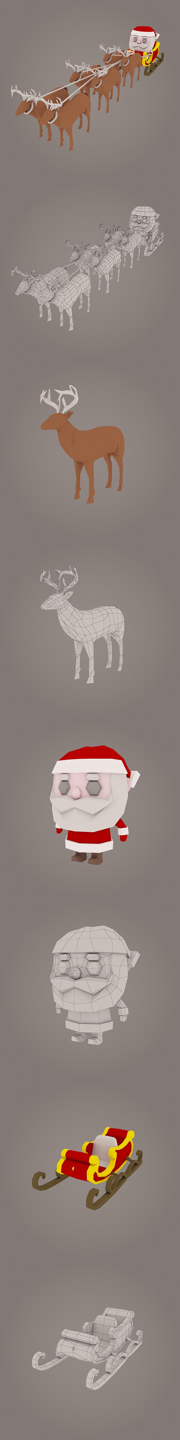 3DOcean Santa Claus low poly pack 20992658