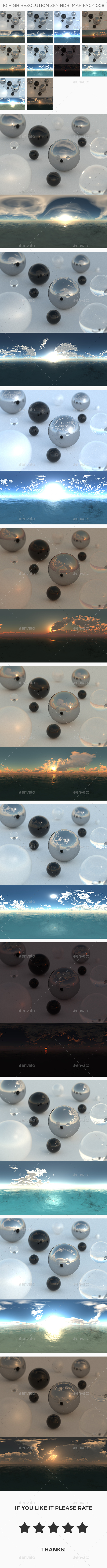 10 High Resolution Sky HDRi Maps Pack 008 - 3DOcean Item for Sale