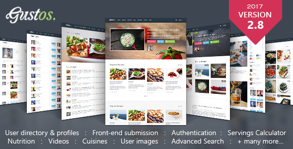 Gustos - Community - Driven Recipes, WordPress Theme - Food Retail