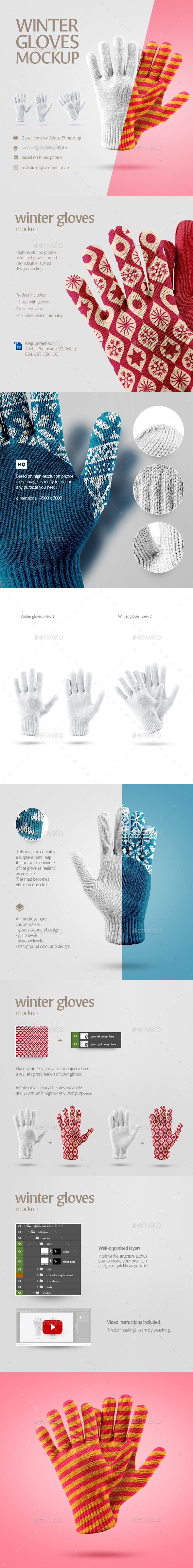 GraphicRiver Winter Gloves Mockup 20992805