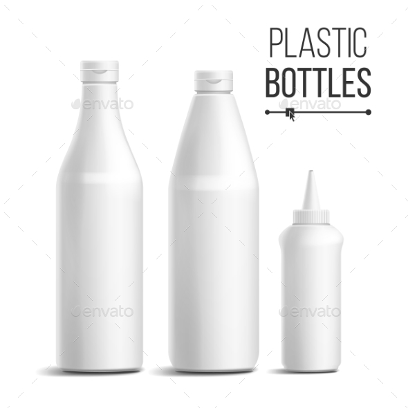 White Bottle Set Vector - Food Objects