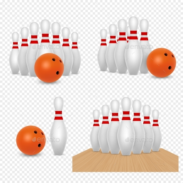 Bowling Ball and Skittles Vector Realistic - Miscellaneous Vectors