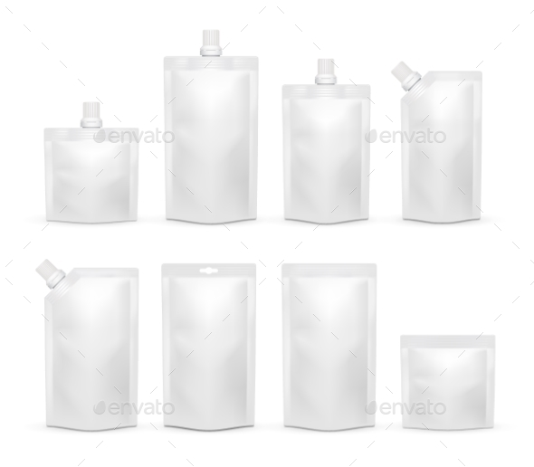 Vector White Blank Doypack Realistic Template Set - Food Objects