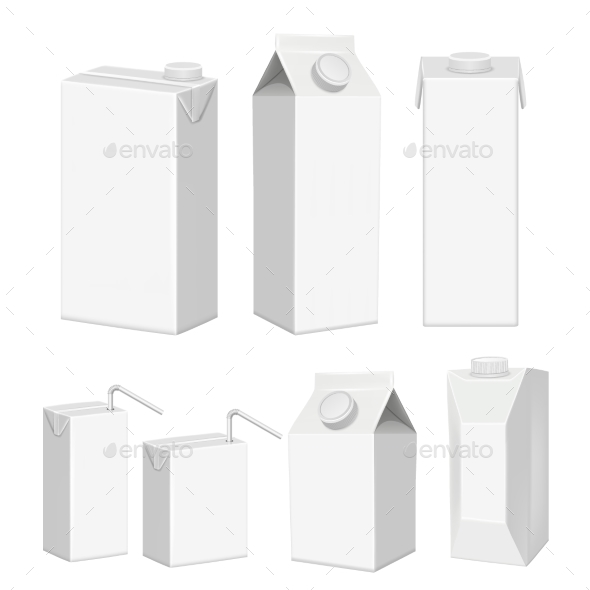 GraphicRiver Vector Realistic White Blank Juice Carton Package 20992983