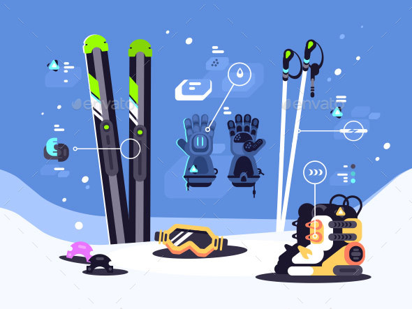 GraphicRiver Set of Equipment for Skiing 20993116