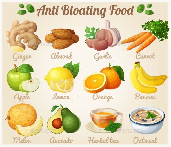 Set of Cartoon Anti-Bloating Food Icons - Food Objects