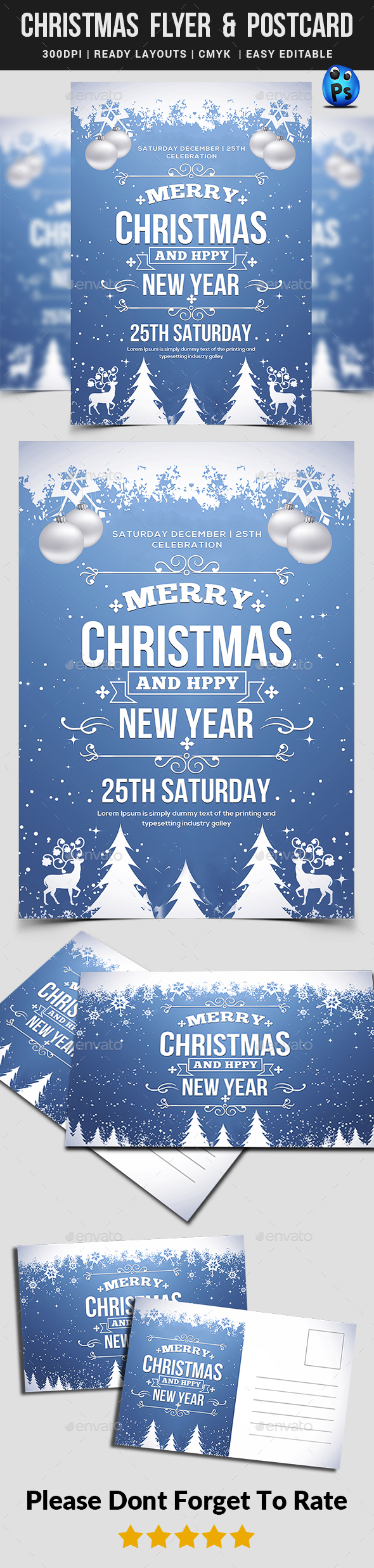 Christmas Flyer Postcard Templates - Events Flyers