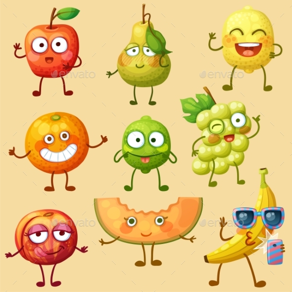 GraphicRiver Fruit Character Isolated 20993207