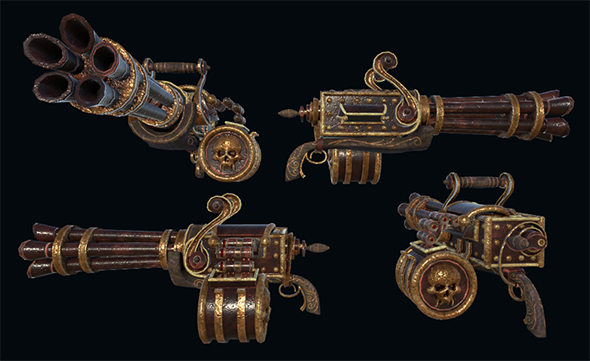 3DOcean Steampunk Gattling Machinegun 20993311