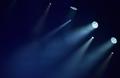 Blue stage lights, light show at concert