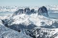 Ski resort in the Italian Dolomites. Marmolada glacier