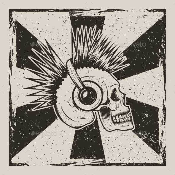 Skull Music Side View Vector Vintage Grunge Design - Backgrounds Decorative