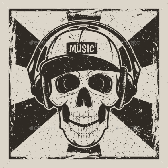Music Skull Vector Vintage Grunge Design - Backgrounds Decorative