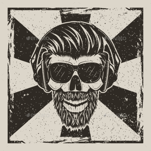 Skull Music Hipster Vector Vintage Grunge Design - Backgrounds Decorative
