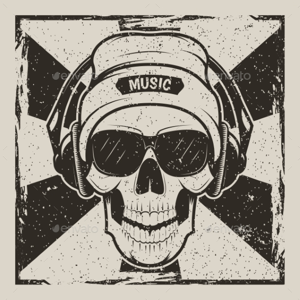GraphicRiver Skull Music Vector Vintage Grunge Design 20993633