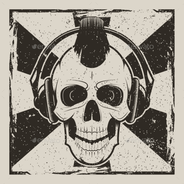 GraphicRiver Skull Music Punk Vector Vintage Grunge Design 20993639