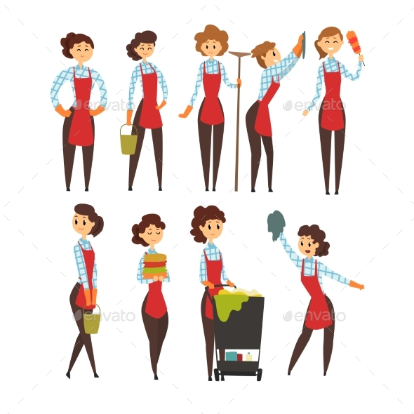 GraphicRiver Female Professional Cleaner Set 20993778