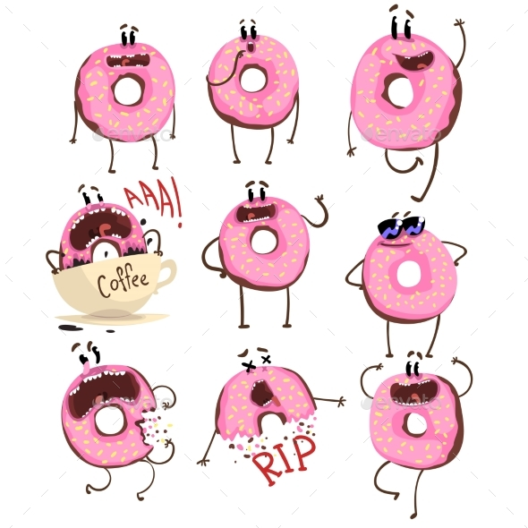 GraphicRiver Pink Donut Cartoon Character Set 20993781