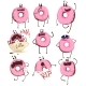 Pink Donut Cartoon Character Set