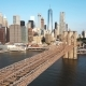 Brooklyn Bridge To Manhattan in New York, America Through the East River in Sunny - VideoHive Item for Sale