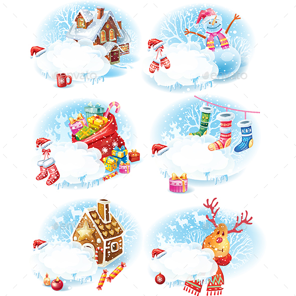 GraphicRiver Set of Christmas and New Year Stickers 20994067