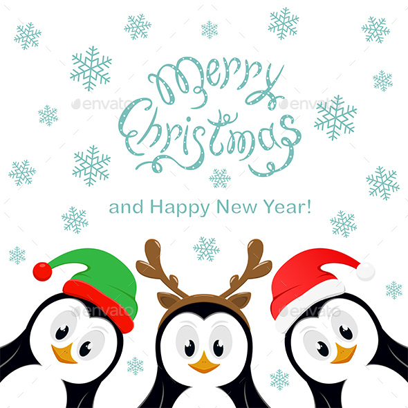 Merry Christmas with Snowflakes and Three Penguins on White Background - Christmas Seasons/Holidays