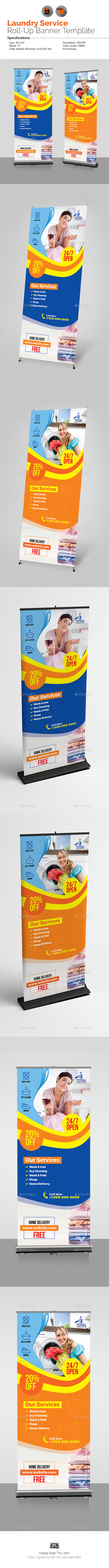 Laundry Services Roll-Up Template - Signage Print Templates