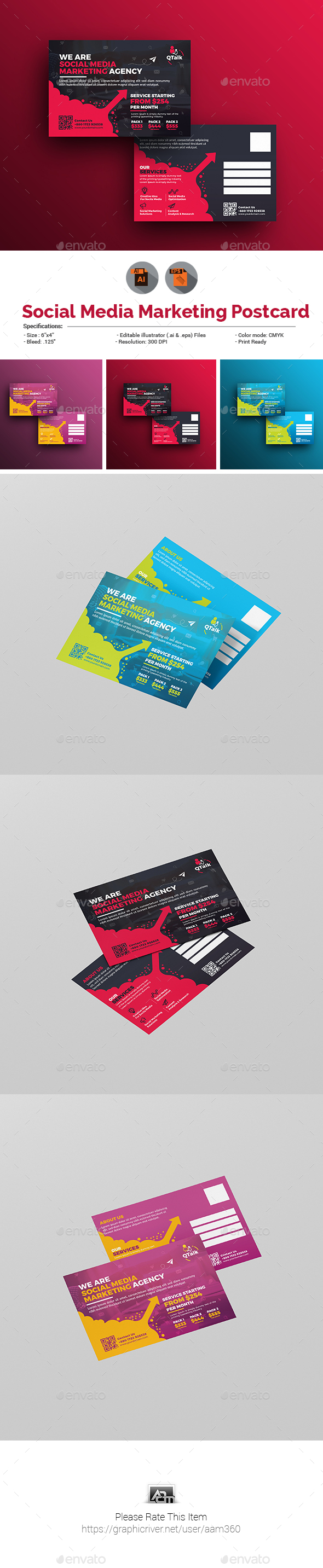 GraphicRiver Social Media Marketing Postcard 20994392