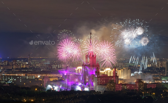 View from the roof tops on fireworks over the night Moscow city - Stock Photo - Images