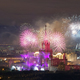 View from the roof tops on fireworks over the night Moscow city - PhotoDune Item for Sale