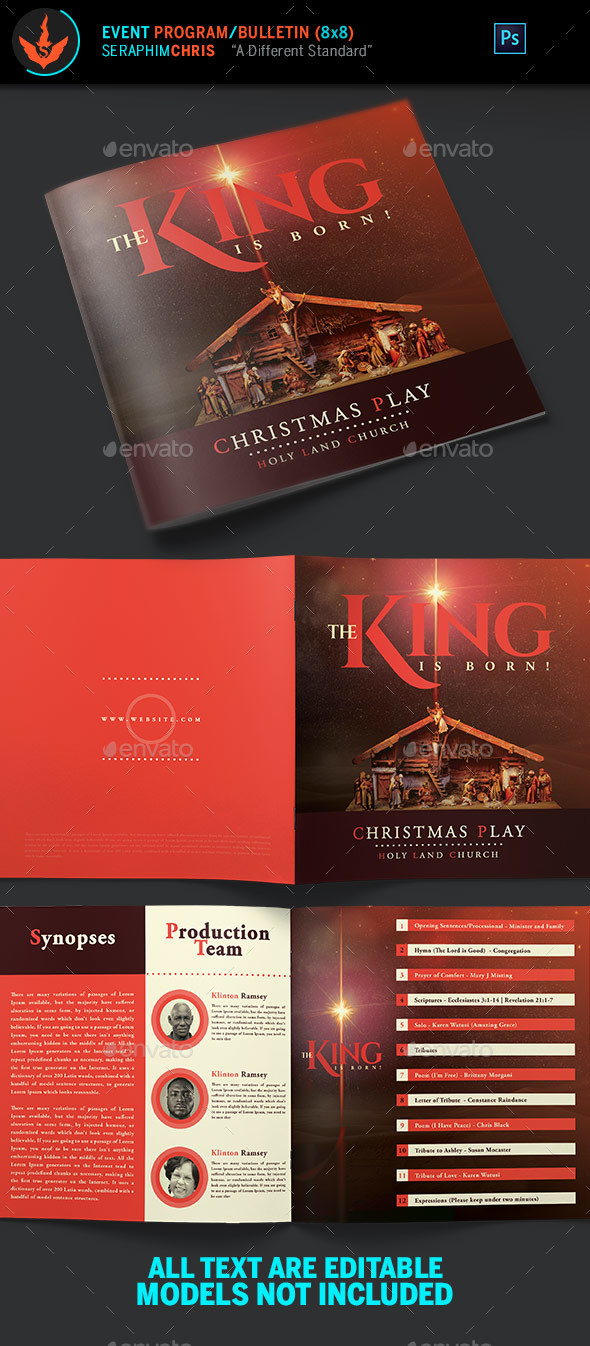 The King is Born Christmas Program Template - Informational Brochures