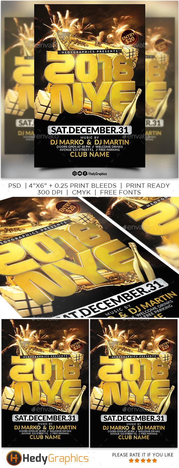 2018 Nye Party Flyer - Events Flyers