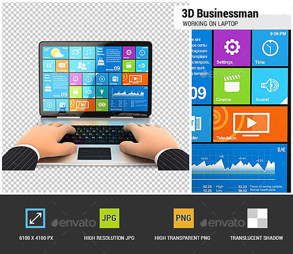 3D Businessman Working on Laptop - Characters 3D Renders