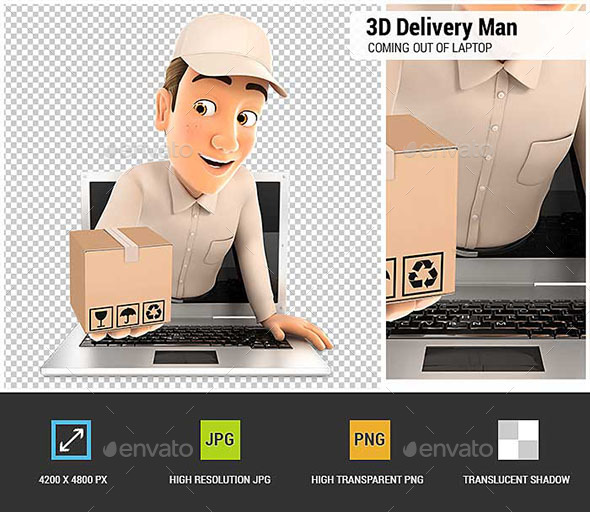 GraphicRiver 3D Delivery Man Coming Out of Laptop with Package 20994718