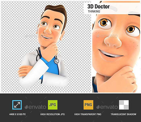 3D Doctor Thinking - Characters 3D Renders