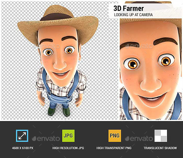 3D Farmer Standing and Looking Up at Camera - Characters 3D Renders
